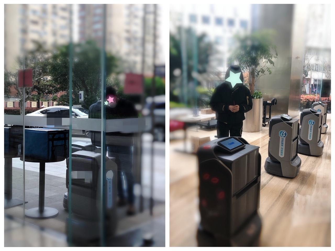 上海•フードデリバリー配達者を待ち、待機中の配送ロボット(2020年3月31日撮影)