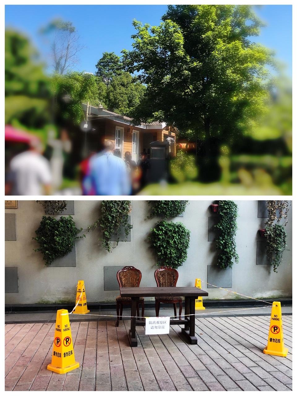 上海•公園入口では、検温実施で、観察隔離エリアもある!