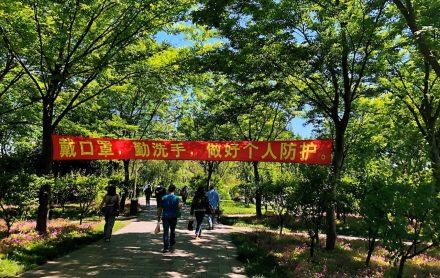 上海•公園内のスローガン「マスク着用•手洗いの励行•個人の予防を徹底しよう!」