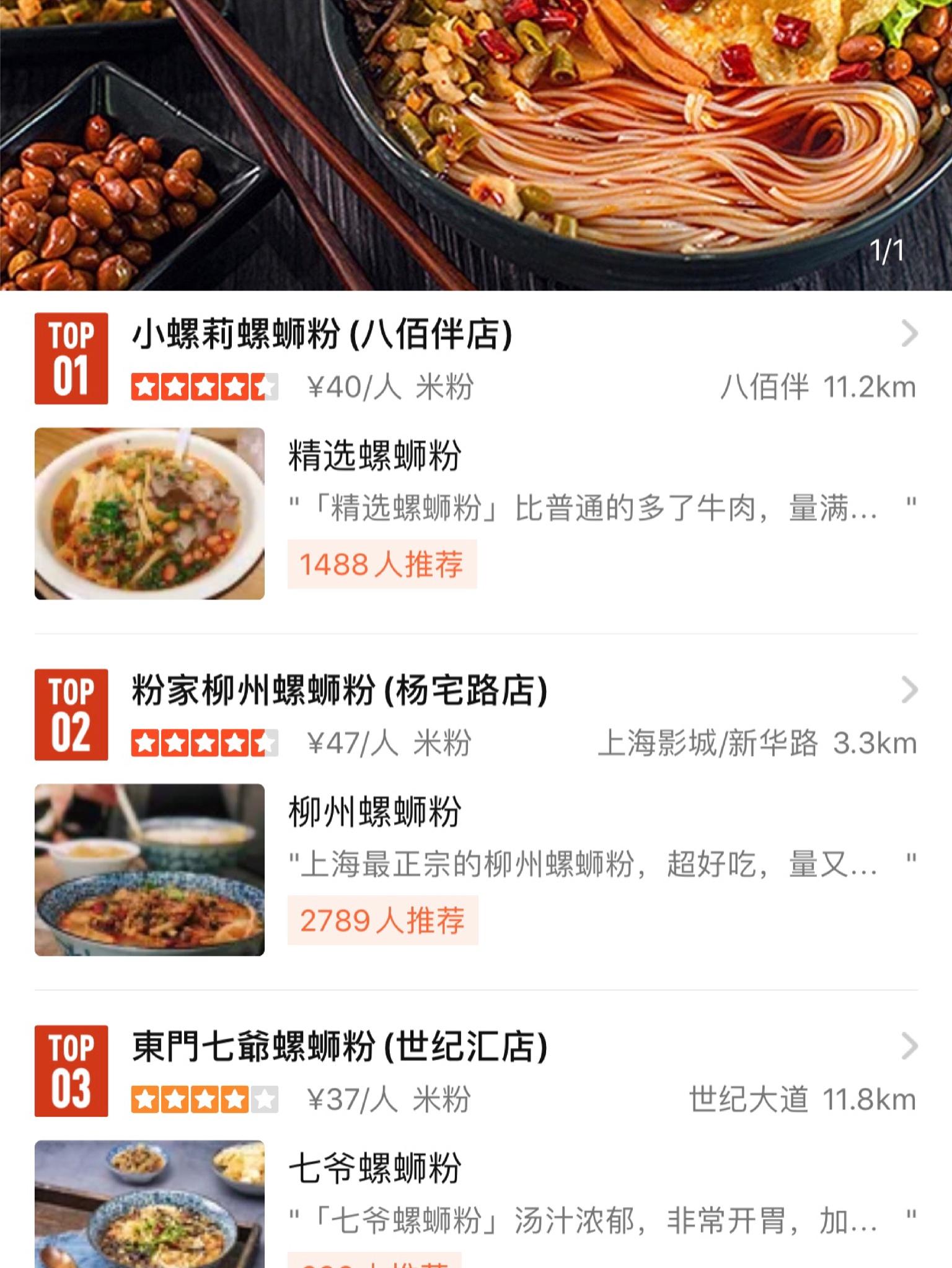 上海・大衆点評によるランキング