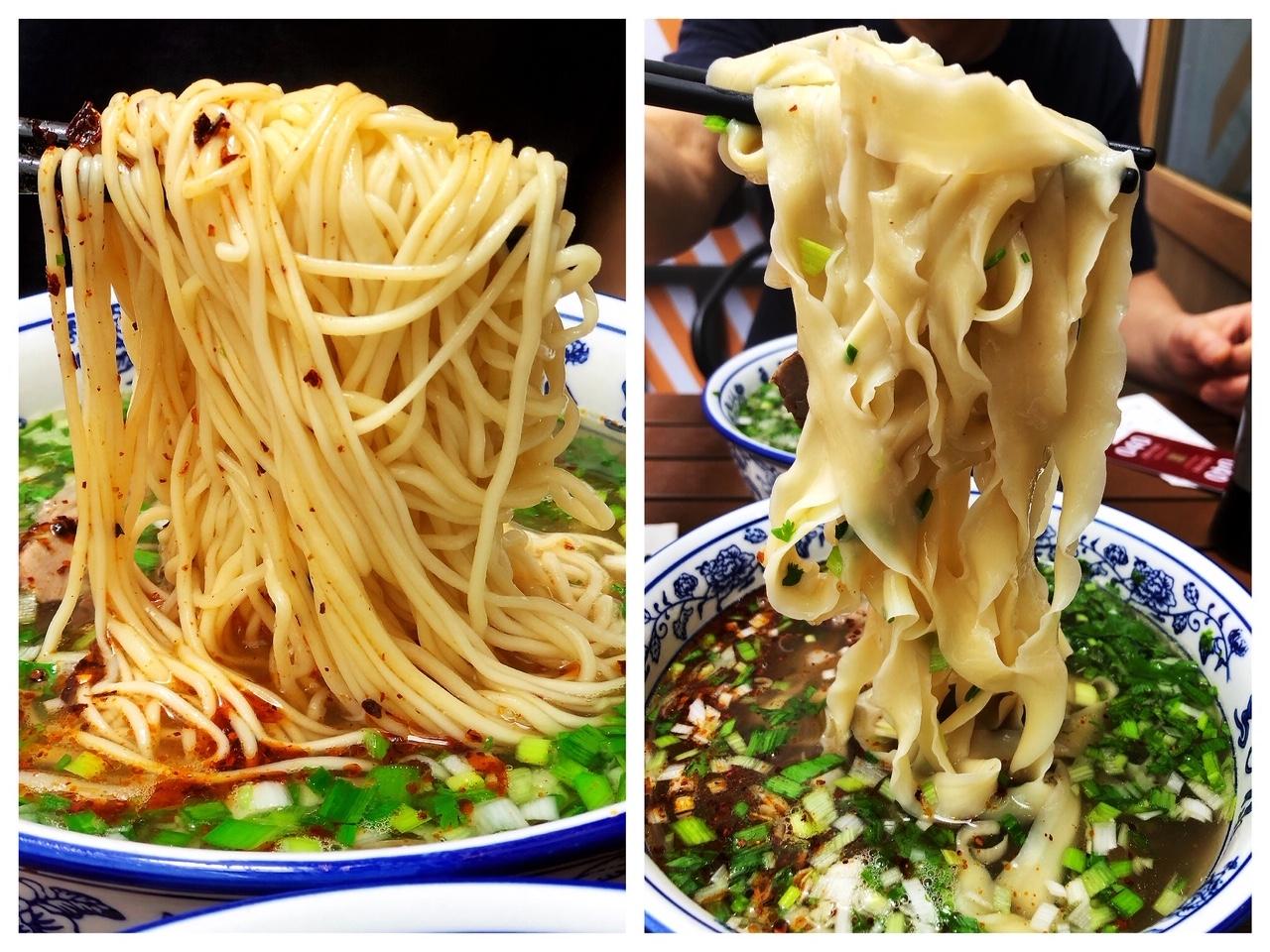 上海• 麺の太さを選ぶ!細麺(左)と寛麺